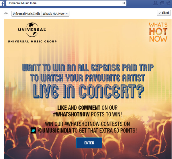 Universal Music India gives its users a chance to watch their favorite WhatsHotNow artist LIVE