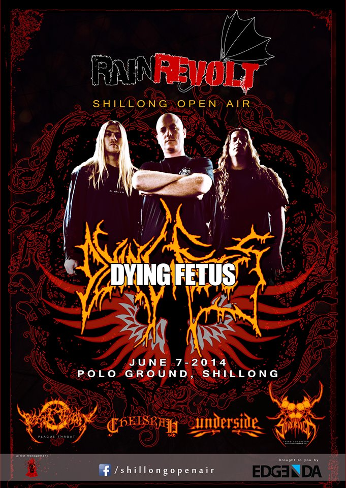 American Death Metal Band Dying Fetus is all set to make its maiden appearance in India at Rain Revolt: Shillong open air, 1st Edition
